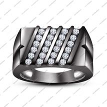 0.84 Carat Round White CZ Men's 14k Black Gold Gp 925 Silver Wedding Band Ring - $134.99