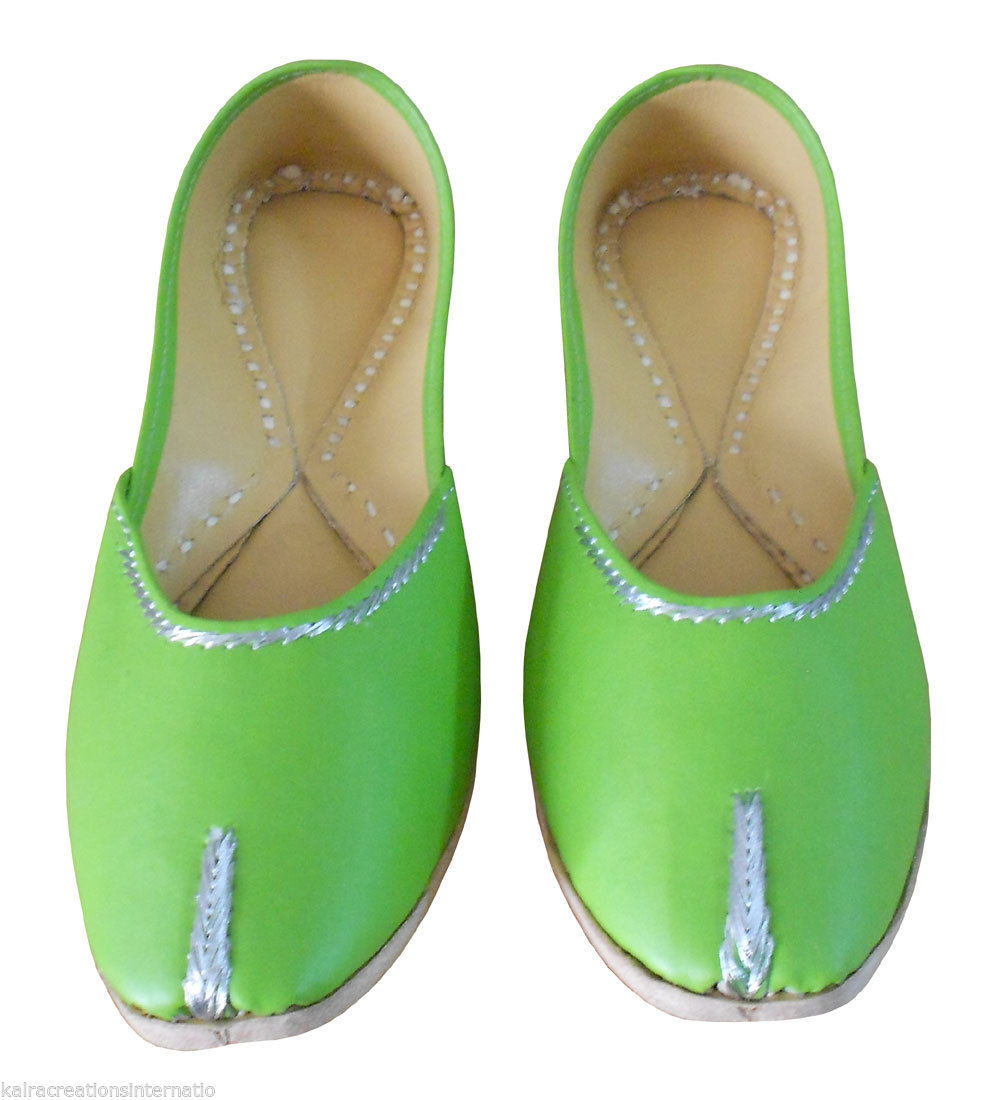 Primary image for Women Shoes Indian Handmade Leather Green Mojari Traditional Ballet Flats US 6
