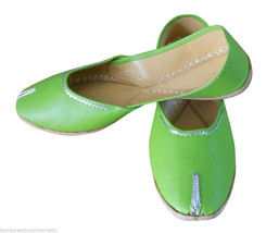 Women Shoes Indian Handmade Traditional Jutti Green Ballet Flats Mojari ... - $24.99