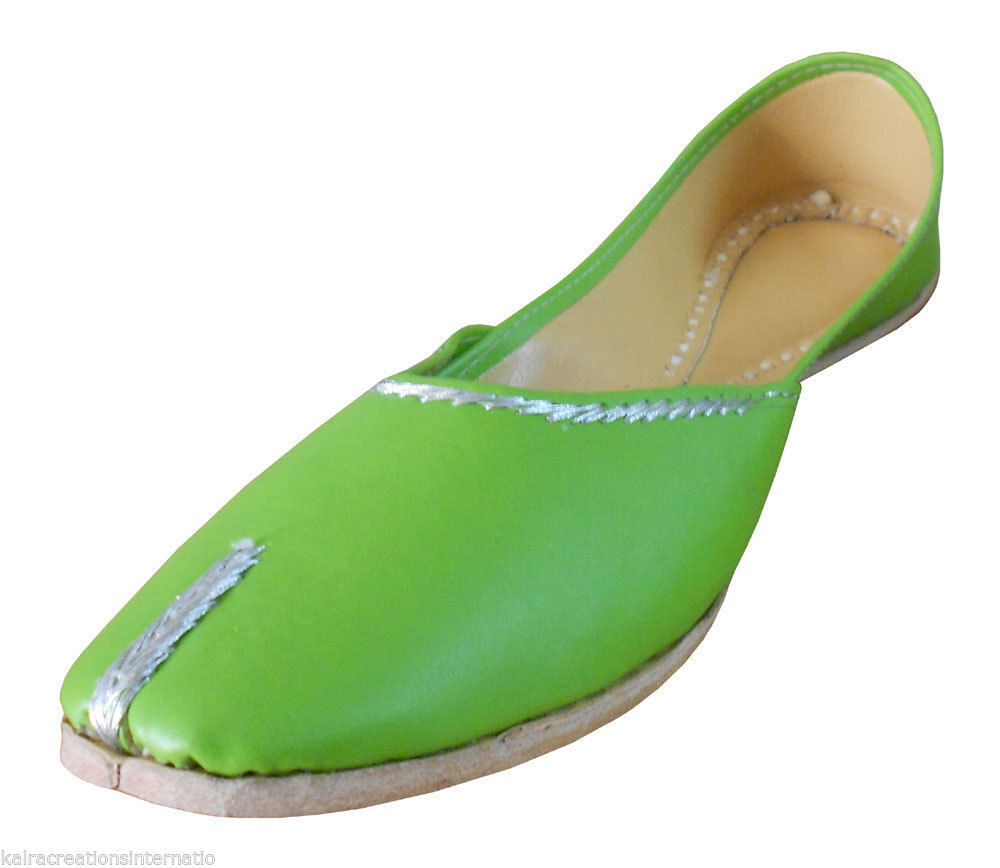 Primary image for Women Shoes Indian Traditional Handmade Ballet-Flats Leather Green Mojari US 7