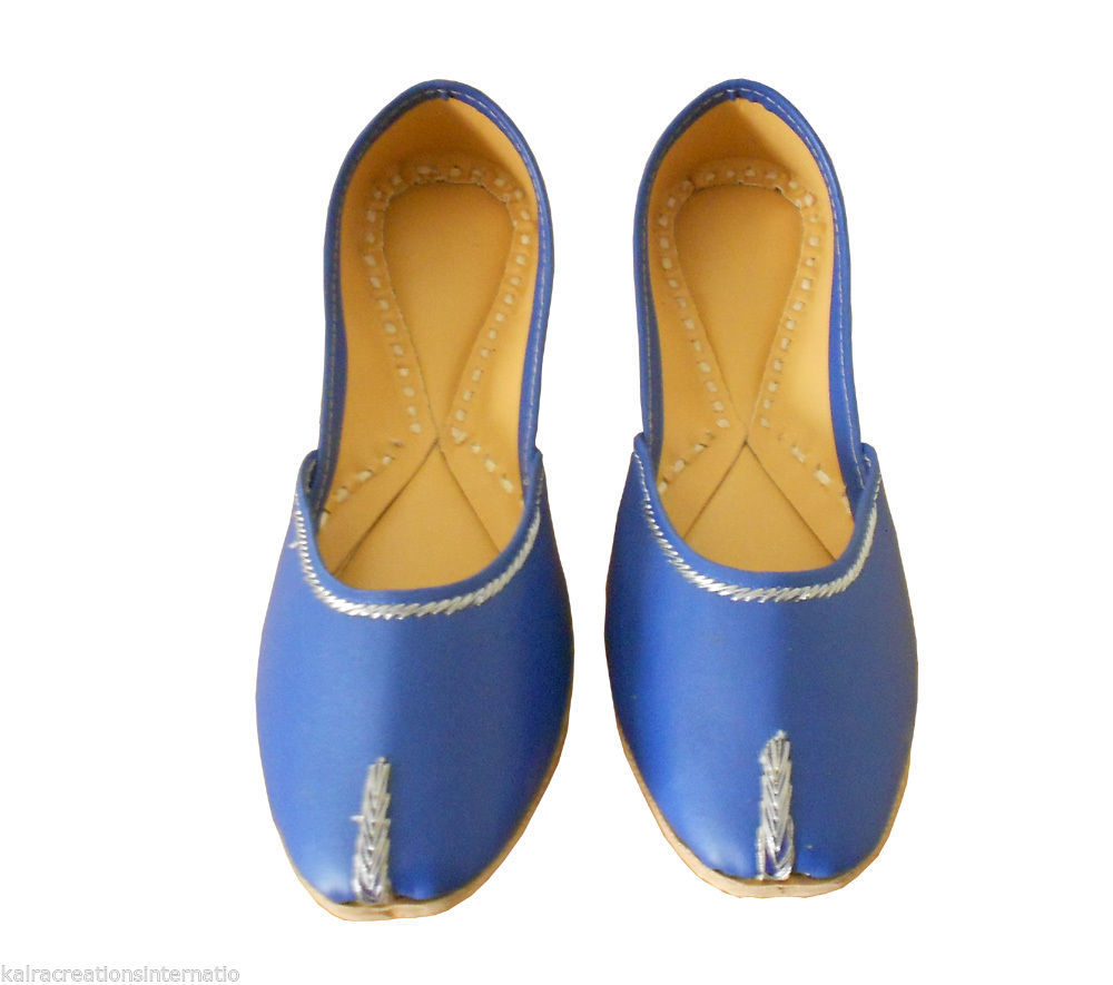 Women Shoes Indian Handmade Jutties Blue Traditional Ballerinas Mojari US 9.5 - £24.26 GBP