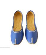 Women Shoes Indian Handmade Jutties Blue Traditional Ballerinas Mojari U... - $29.99