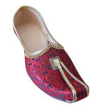 Men Shoes Indian Handmade Jutti Loafers Wedding Maroon Khussa Mojari US 6-11  - $34.99