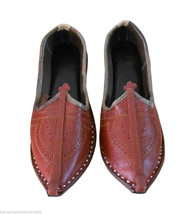 Men Shoes Indian Handmade Leather Espadrilles Cherry Mojari Flat US 7 - $34.99