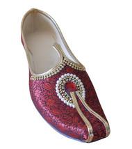 Men Shoes Indian Handmade Groom Maroon Khussa Loafers Flat Mojaries  US 7-9 - $34.99