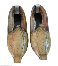 Men Shoes Indian Handmade Camel Leather Espadrilles Flat Mojari US 7 - $34.99
