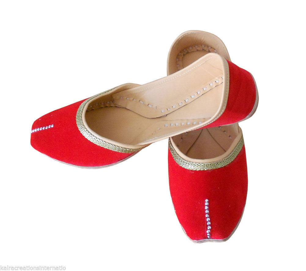 Primary image for Women Shoes Indian Handmade Leather Ballet-Flats Red Flat Jutties US 12