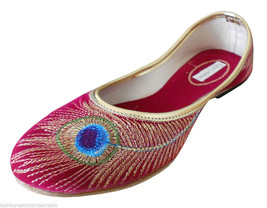 Women Shoes Indian Handmade Traditional Leather Red Ballerinas Mojari US 5-10 - £20.21 GBP