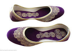 Women Shoes Indian Handmade Mojari Casual Leather Ballerines Purple Jutt... - $24.99
