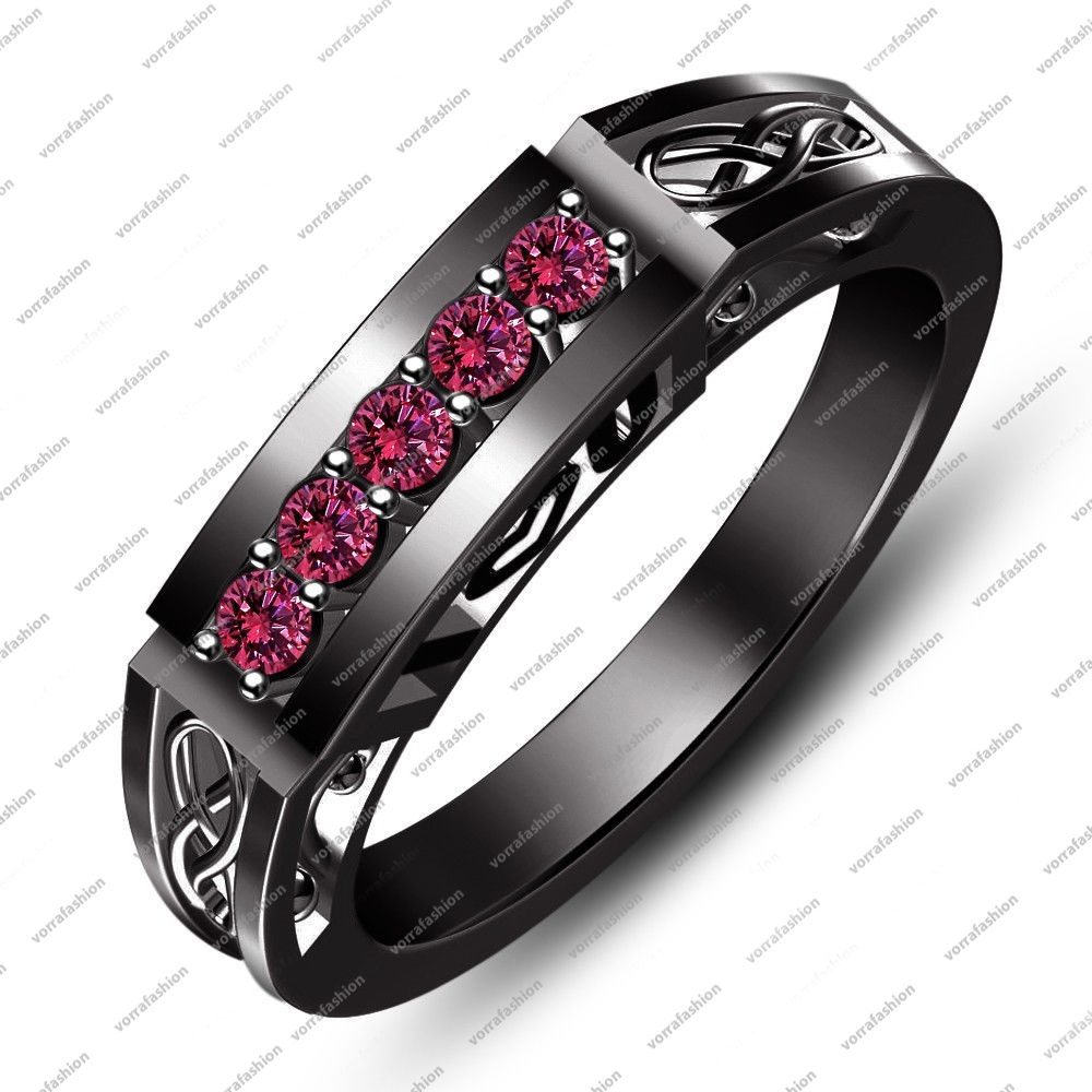 Full Black Rhodium Plated 925 Sterling Silver Pink Sapphire I Love You Ring 5 6