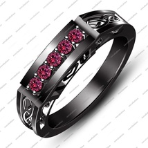 Full Black Rhodium Plated 925 Sterling Silver Pink Sapphire I Love You Ring 5 6 - $98.99