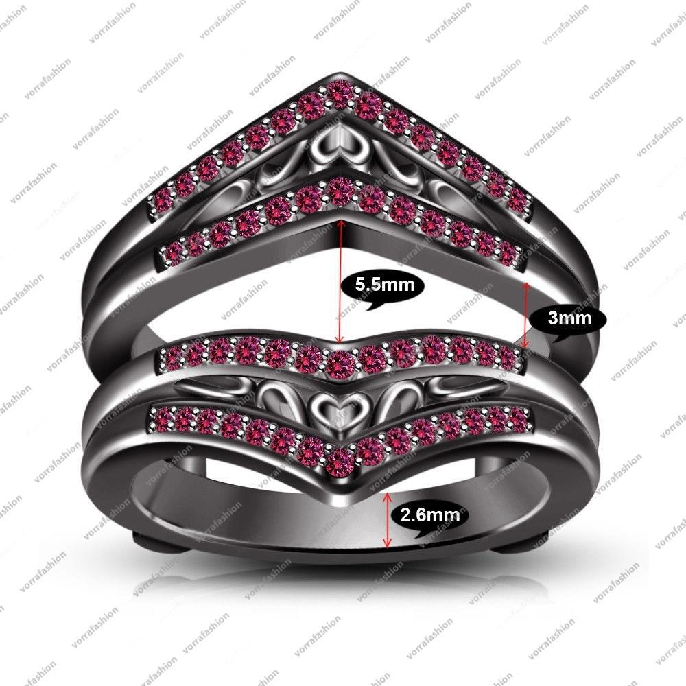 Pink Sapphire Black Gold Fn. Wedding Guard Warp Ring & Free Gift & Free Shipping