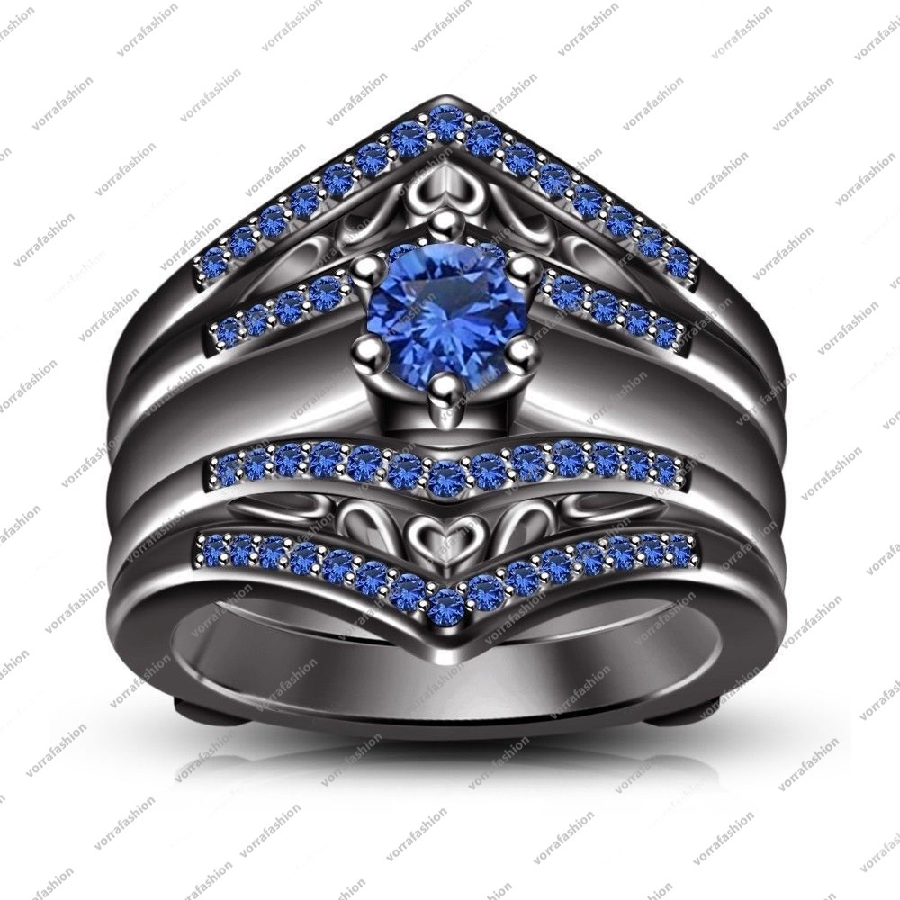 Black Gold Fn. Blue Sapphire Guard Wrap Wedding Ring & Free Gift & Free Shipping