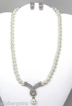 White Pearl Crystal Bridal Wedding Prom Party Necklace Earrings Set - $16.21