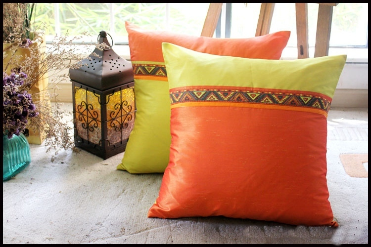 Primary image for jacquard ribbon strip imitation thai silk patch square cushion pillow cover