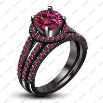 Black Gold Plated 925 Silver Round Cut Pink Sapphire Classy Engagement Ring Set - $119.99