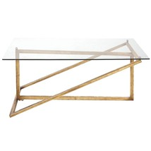 DESIGNER ANTIQUE GOLD & GLASS Modern NEIMAN MARCUS COFFEE TABLE Rectangle - €259,44 EUR