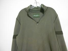 Eddie Bauer Men's Size L Green Cotton Zipper Neck Pullover Long Sleeve S... - $13.99