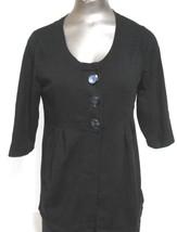 Alfani Size medium Black Scoop Neck Short Sleeve Button Open Front  Sweater Top - $11.72