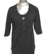 Alfani Size Medium Black Scoop Neck Short Sleeve Button Open Front  Swea... - $15.64