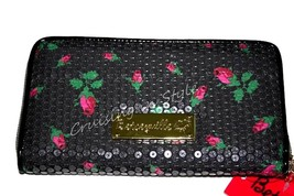 Betsey Johnson Wallet Black Sequin Zip Around O... - $49.25