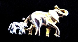 GOLD COLOR MOTHER & SILVER COLOR BABY ELEPHANT BROOCH NEW WITHOUT TAGS - $9.89