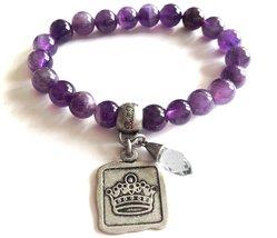 Bella Ryann Crown Jewels Amethyst Bracelet Silver Crown Charm and Crystal