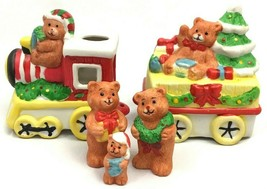 Vintage Christmas Bear Train Candle Holder Figurine Musical Wind Up Giftco - $14.20