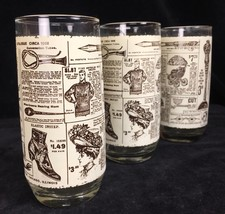 3 Vintage Glass 16 ounce Tumblers Decorated with Sears Roebuck 1908 Cata... - $9.89