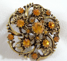 Coro Gold Rhinestone Brooch Pin Flower Swirl Gold Plate Vintage Estate Career - $19.79