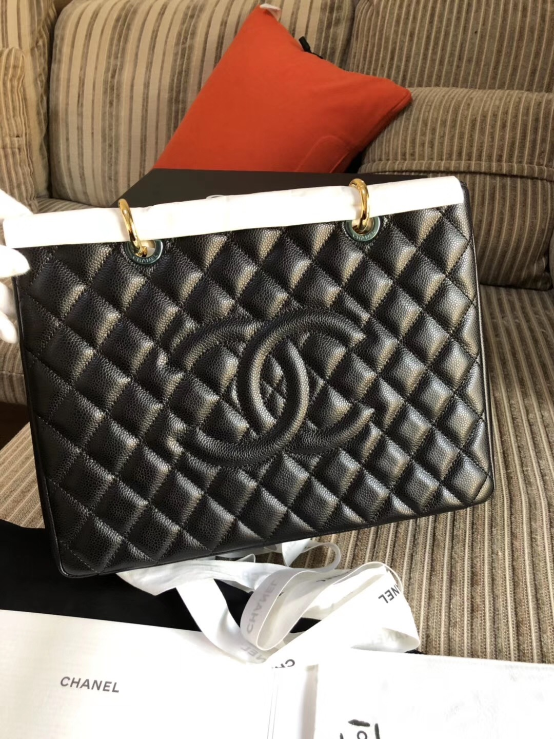 1b08fa5c252f BRAND NEW AUTH CHANEL QUILTED CAVIAR GST GRAND SHOPPING TOTE BAG ...