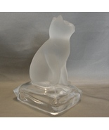 Satin Frosted Glass Cat Figurine on Pillow Base - $12.99
