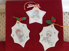 3 Enesco Precious Moments Ceramic Christmas Ornaments (#1751) - $14.99