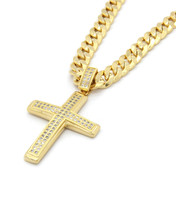 Mens 14k Gold Plated 2Line Fully Cz Cross Pendant 24'' Inch Cuban Neckla... - $16.82