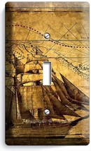 Pirate Ship Old Treasure Map Single Light Switch Cover Boys Bedroom Room Decor - $8.09