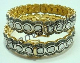 Victorian Look !! 10.955 Ctw Rose Cut Diamond .925 Silver Polky Bracelet... - $2,414.03