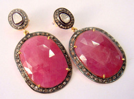 Vintage INSP Deco 2.00Ct Polki Rose Cut Diamond 925 Silver Dangle Earring @CSJ41 - $300.15