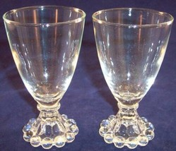 Vintage Lot of 2 Anchor Hocking Boopie Clear Juice Cordial Glass Beaded ... - $9.99