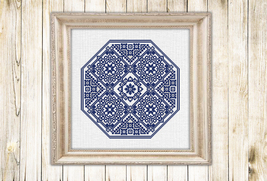 Cross stitch pattern Blue madellion - $5.00