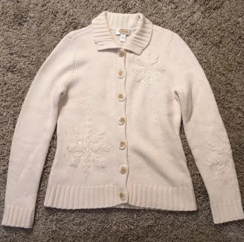 Primary image for Women's Talbots Cream Lambswool Blend Cardigan Sweater, Size Small, VERY SOFT!