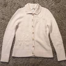 Women's Talbots Cream Lambswool Blend Cardigan Sweater, Size Small, VERY SOFT! - $27.99