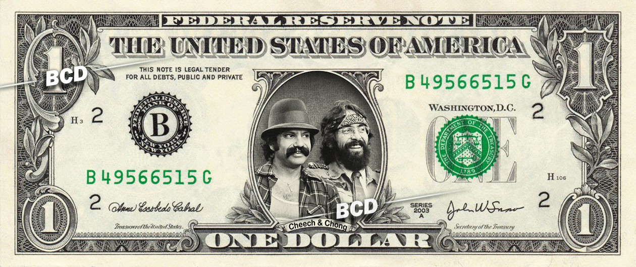 CHEECH AND CHONG on REAL Dollar Bill - Cash Money Bank Note Currency Dinero
