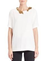 DKNY Top Sz S Winter White Short Sleeve Embelli... - $128.61