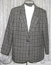 BLACK GREY TAN WHITE PLAID Wool JACKET Sz 10 Sag Harbor - $9.99