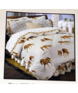 BROWN HORSES & HORSE SHOES on ECRU BED SKIRT King Size Hit The Hay NWOT - $9.99