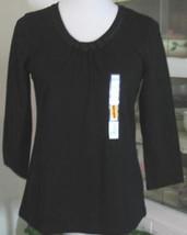 BLACK Knit Tee Top Cotton Knit Size S Croft & Barrow NWT - $19.98