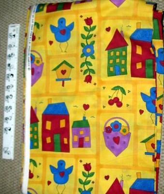 "BIRDHOUSES on YELLOW Cotton Quilting Fabric 2+ yards x 45"" wide"