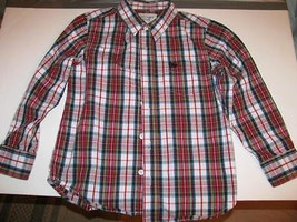 Boy's Shirt Blue Red gold black & White PLAID Cotton Size Small Old Navy - $10.00
