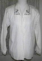 BLACK EMBROIDERY on CREAM Cotton Poly SHIRT Size 8 Karen Scott - $21.99