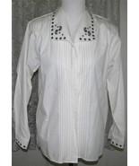 BLACK EMBROIDERY on CREAM Cotton Poly SHIRT Size 8 Karen Scott - $21.99